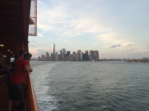 Manhattan and the Brooklyn Bridge from the Staten Island Ferry.
